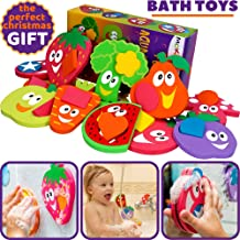 Bathtub Toys for Toddlers - Foam Bath Puzzles for Kids - Fun Baby Educational Toy for Girls & Boys Preschoolers - Fine Motor Skills - Early Learning Tub Stickers Fruits Set (12 Puzzles - 24 Items)