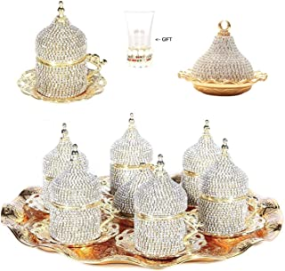 27 Pc Turkish Greek Arabic Coffee Espresso Cup Saucer Crystal Set (Gold)