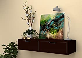 Vudy Exclusively Launched Wall Shelf with Drawer for Living Room , Storage and Home Decorative Items (Walnut)