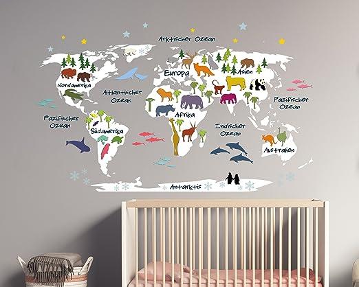 Wandtattoo Weltkarte Fur Kinder In Weiss Mit Bunten Tieren 110 X 68 Cm Amazon De Kuche Haushalt