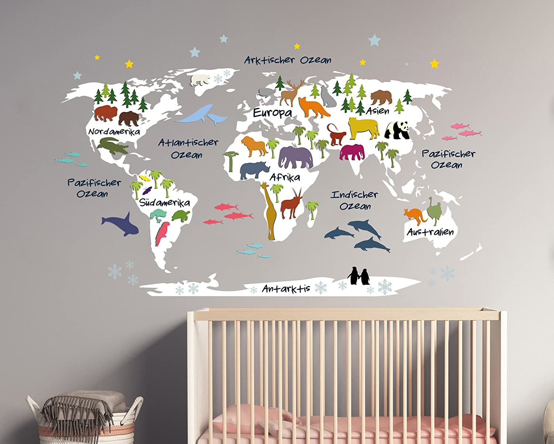 Wandtattoo Weltkarte für Kinder in wei mit Bunten Tieren (179 x 110 cm)
