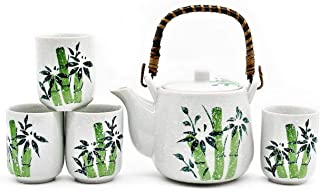 Mose China ~ Deluxe Green Bamboo and Snow Japanese Ceramic Tetsubin Teapot & Teacups, Tea Set ~ Stainless Steel Infuser & Rattan Handle Included With Gift Box