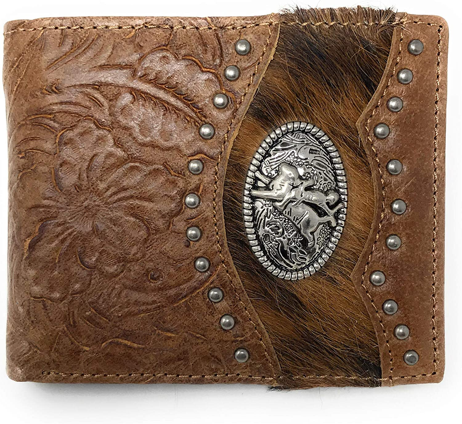 Western Genuine Tooled Leather Cowhide Cow Fur Rodeo Mens Bifold Short Wallet in 2 colors