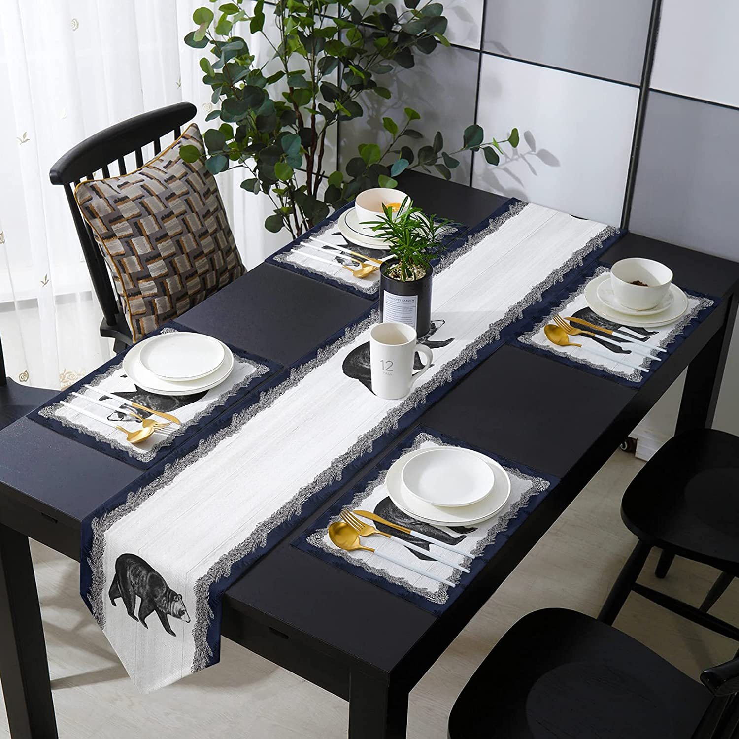 Table Runner with Placemats OFFicial site Forest Bear New mail order Pine Needles Animals on