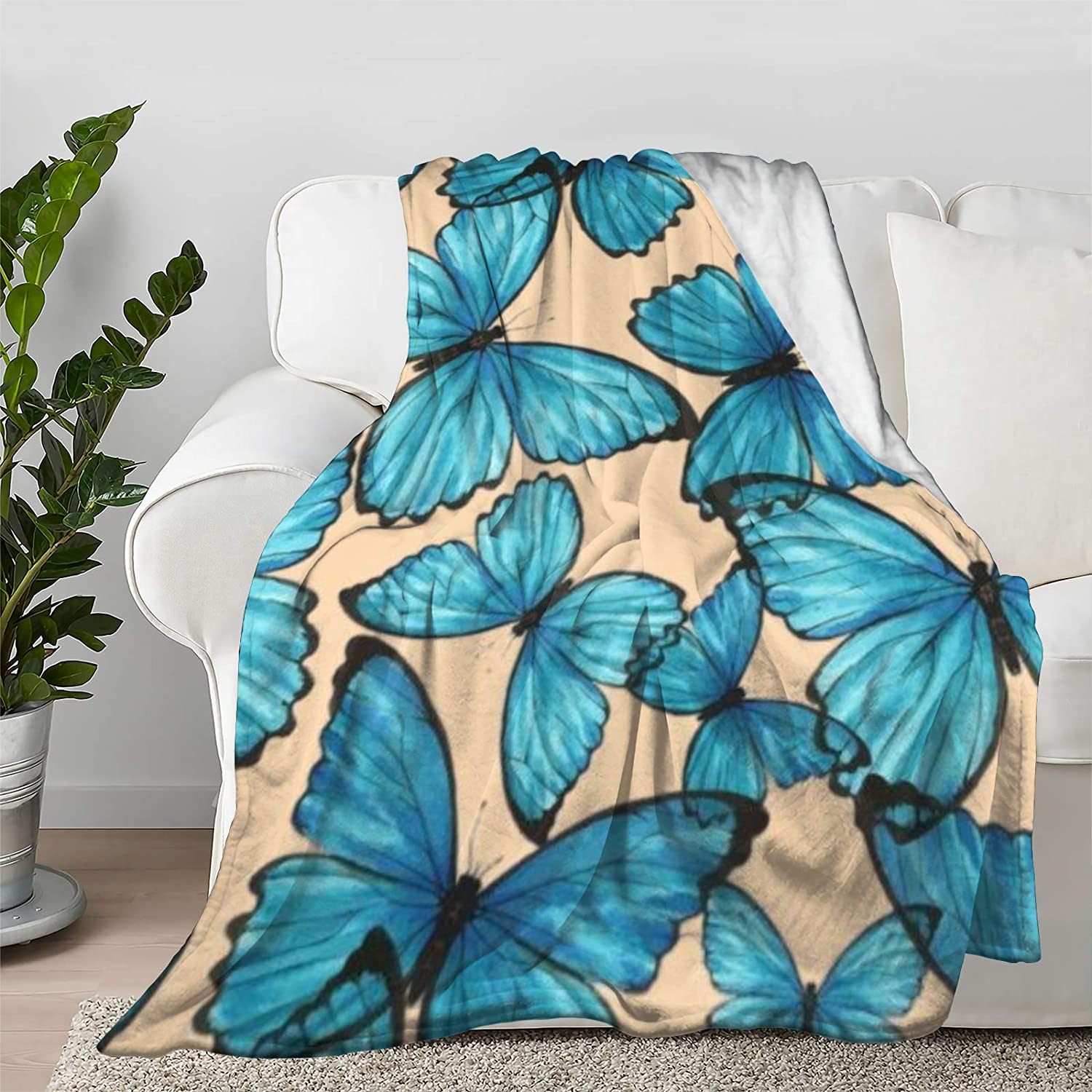 Multi-Styles Blue Butterfly Wholesale Flannel Soft Rare Bed Throw B Blanket Fit