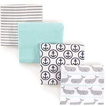 Hudson Baby Unisex Baby Cotton Flannel Receiving Blankets, Gray Whale, One Size