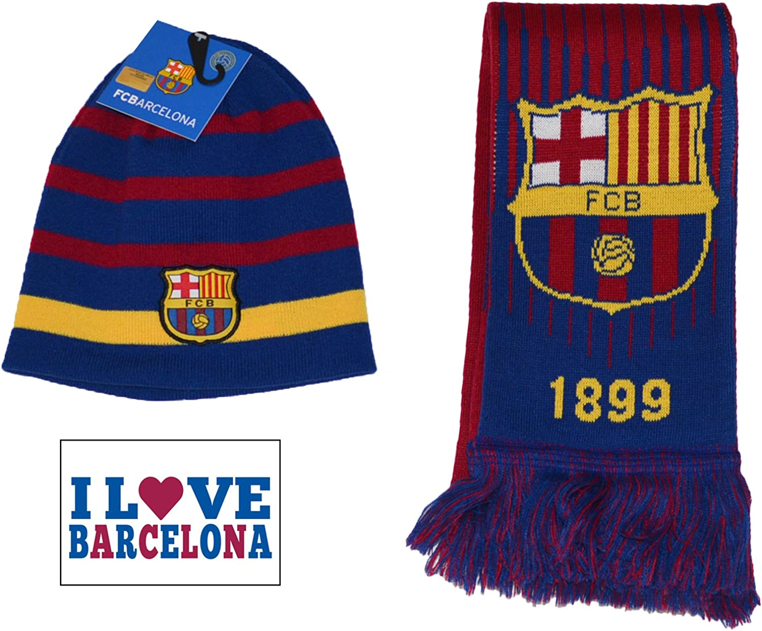 F.C. Barcelona FC Barcelona Scarf Reversible and Beanie Pom Skull Cap Hat and