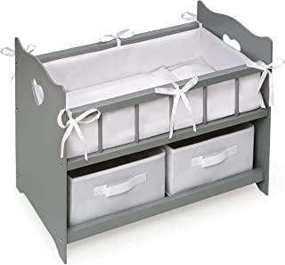 Badger Basket Girls Two Basket Doll Crib (fits American Girl dolls), Gray/White
