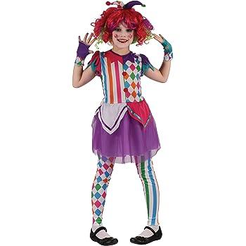 Generique - Disfraz de Payaso arlequín niña M 7-9 años (120-130 cm ...