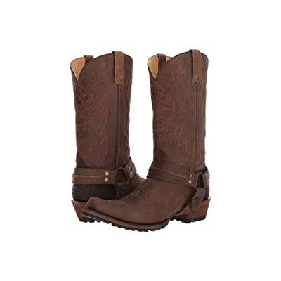 Roper Skull (Brown Leather) Cowboy Boots