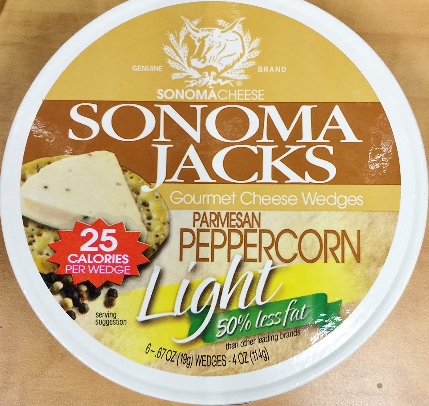 New color 4oz Sonoma Jacks Gourmet Cheese Light Wedges Max 60% OFF Parmesan Peppercorn