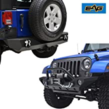 EAG Fit for 07-18 Jeep JK Wrangler Front Bumper with Fog Light hole and Rear Bumper with 2