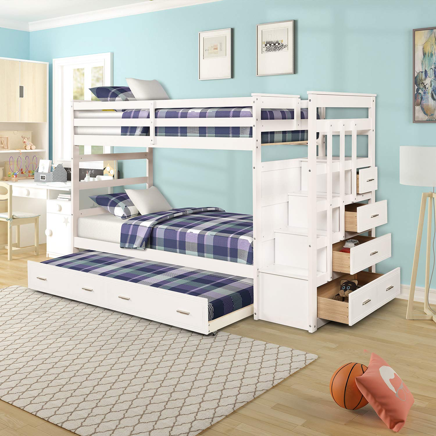 Bunk Bed For Kids Twin Over Twin Bunk Bed With Trundle And Staircase Trundle Bed With Rails White Buy Online In Aruba At Aruba Desertcart Com Productid 177905008