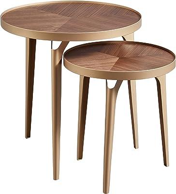 Amazon Brand – Rivet Mid-Century Nested Metal Side Tables, Set of 2, Brass/Walnut Finish