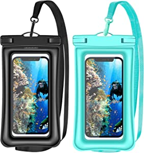 v-Golvin Floating Universal Waterproof Phone Pouch, IPX8 Cellphone Dry Bag Waterproof Case for iPhone 12 SE 2020 11 Pro XS Max XR X 8 7 6s Plus Galaxy S10 S9 S20 S21 Note 20/10 Up to 7 inches -2 Pack