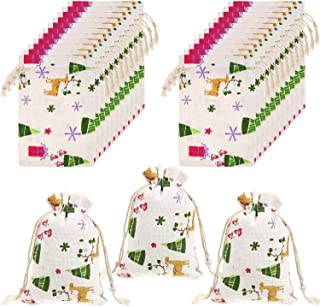 Frienda 20 Pieces Christmas Drawstring Gift Bags Cotton Christmas Bags Candy Wrapping Bag for Xmas Party Supplies