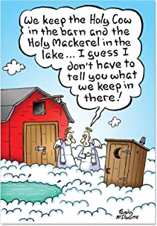 NobleWorks, Holy Sh-t - 12 Humorous Christmas Cards with Envelopes - Funny Heavenly Angels, Toilet Humor Boxed Xmas Notecards B1893