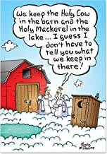 Holy Sh-t - Hilarious Religious Christmas Note Card with Envelope (4.63 x 6.75 Inch) - Funny Poop Angels, Heaven Happy Holidays Card for Xmas - Cartoon Joke Card, Stationery Notecard 1893