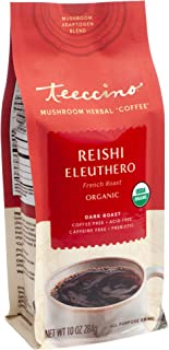 Teeccino Mushroom Adaptogen Coffee Alternative – Reishi Eleuthero French Roast – Caffeine-Free Mushroom Coffee for Natural...