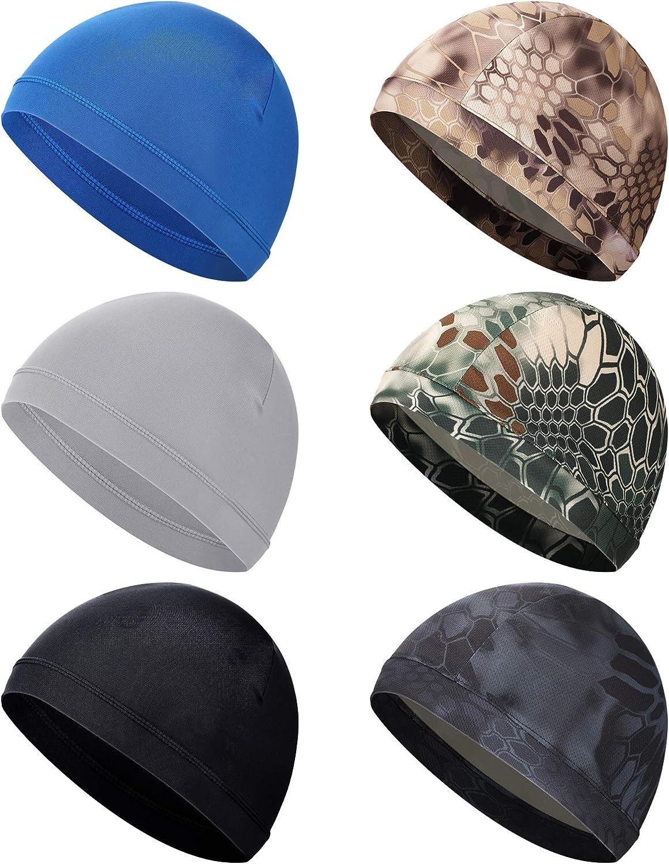SATINIOR 6 Pieces Unisex Helmet Liner Skull Cap Cooling Cycling Cap Sports Helmet Cap Sweat Wicking Cap (Black, Camouflage): Clothing