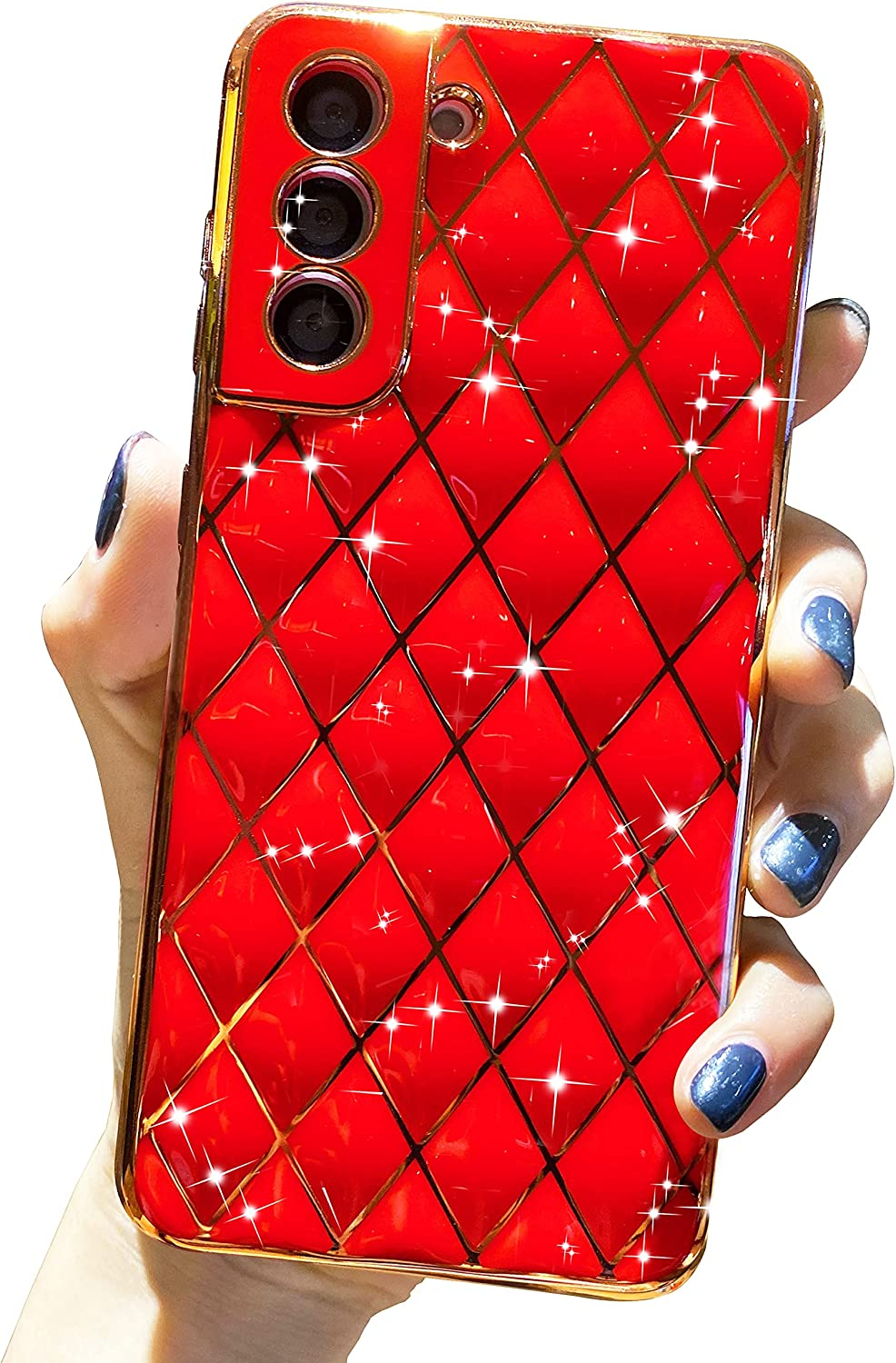 Anynve Compatible with Galaxy S21 Case, Cute Glitter Sparkle Plating Samsung S21 Case, Full Camera Lens Protection & Shockproof Edge Bumper TPU Case Cover for Samsung Galaxy S21 [6.2 inches] -Red