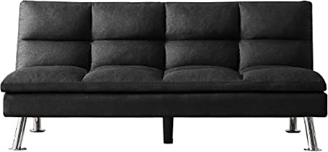 Merax Mini Futon Bed Couch, Modern Sofa Sleeper Design for Living Room or Bedroom, Including Metal Legs and Upholstery Sof...