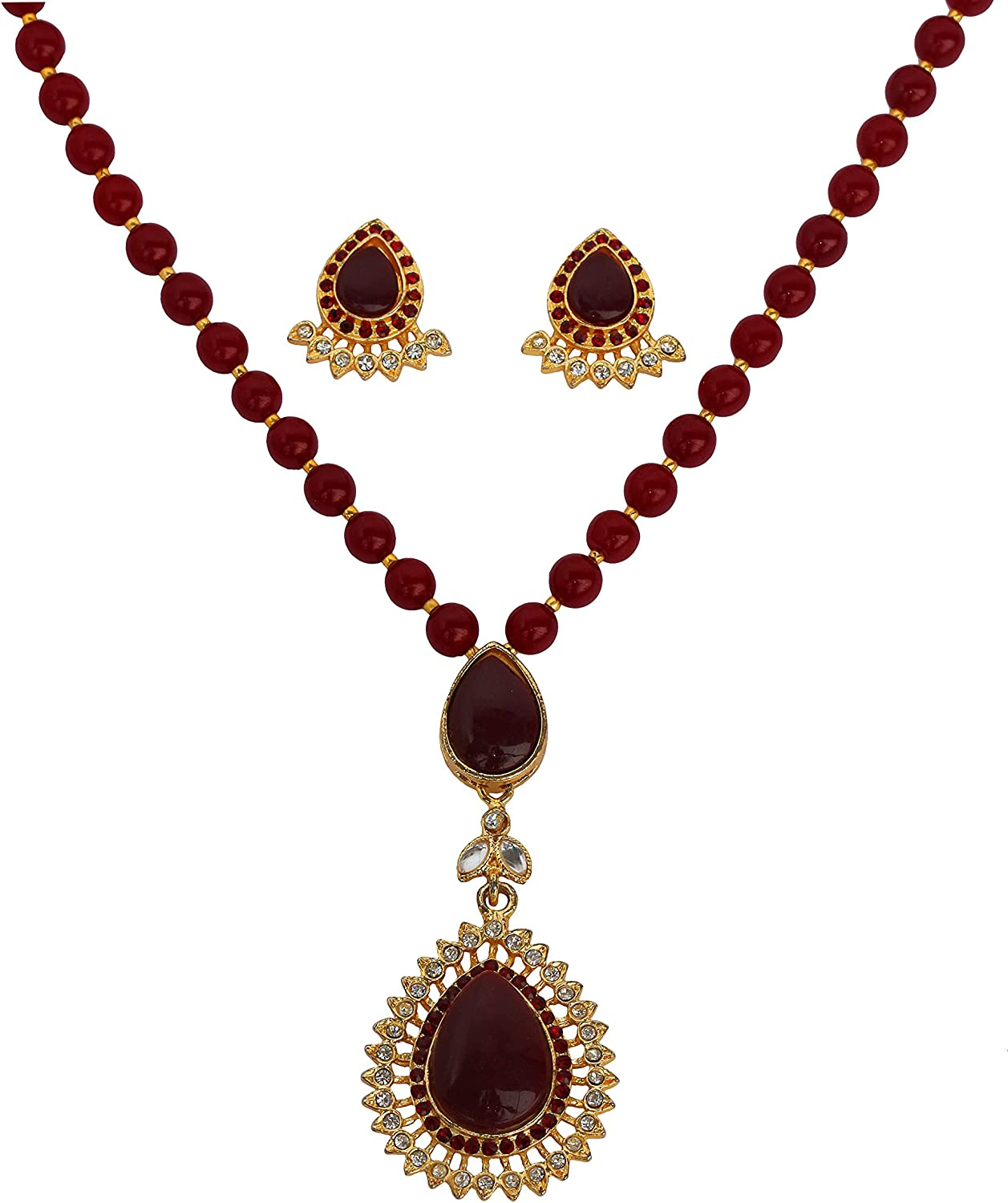 Touchstone Gold Tone Indian Hollywood Kundan Touch Faux Ruby Rhinestones red Beads Jewelry Pendant Set