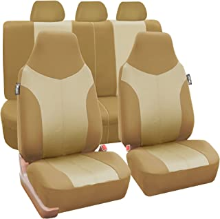 FH Group FB101BEIGETAN115 Beige Supreme Twill Fabric High-Back Car Seat Cover (Full Set Airbag Ready and Split Rear Bench)
