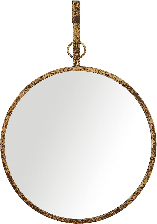 Amazon Brand – Rivet Round Glass Hanging Wall Mirror, 30 Inch Height, Weathered Finish
