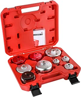 ARES 56015-9-Piece Oil Filter Wrench Set - 3/8-Inch Drive - Easily Remove Oil Filters on Most Vehicles - Convenient Storage Case Included
