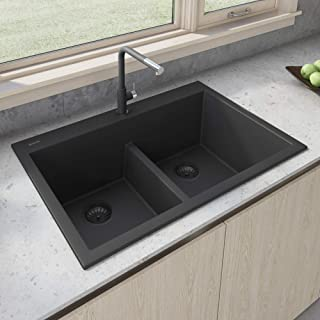 Ruvati 33 x 22 inch epiGranite Dual-Mount Granite Composite Double Bowl Kitchen Sink - Midnight Black - RVG1385BK