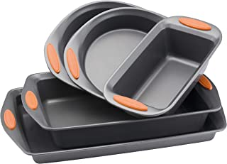 Nonstick Bakeware Set with Grips Includes Nonstick Bread Pan, Baking Pans and Cake Pans - 5 Piece, Gray with Orange Grips - 1