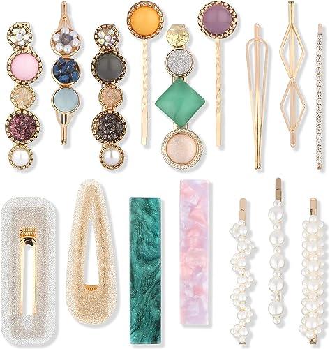 Makone Pinzas Horquillas Perlas Pelo Artificiales Resina Acrílica Clips Mujeres Diamantes Imitación, Utilizado Para e...