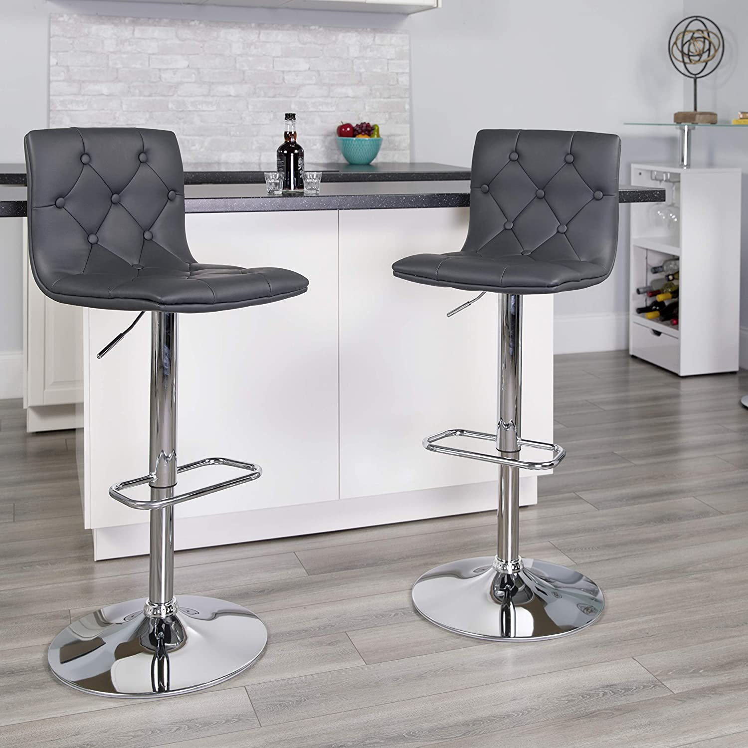 Flash Furniture Contemporary Button Tufted Gray Vinyl Adjustable Height Barstool with Chrome Base