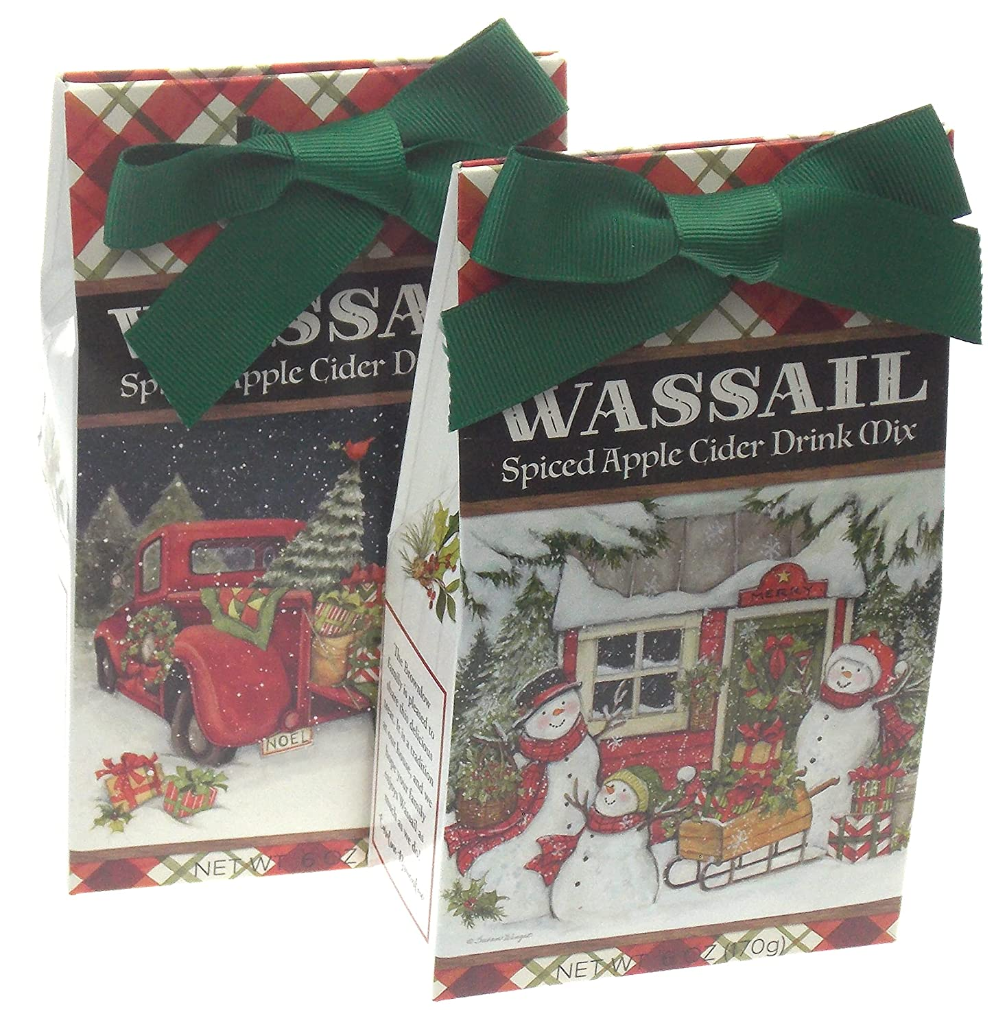 Spiced Apple Cider Wassail Gift Set Bundle - Christmas Red Truck & Snowman Family Holiday Scene Plus a Gift Card