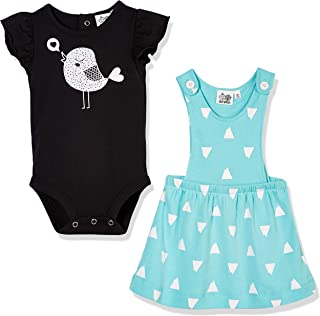 Baby Toddler Girls Cool Summer Dress and Baby Chick Onesies Bodysuit 2-Piece Outfit Set