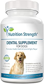 Nutrition Strength Dental Care for Dogs, Daily Supplement for Healthy Dog Gums and Teeth with Organic Kelp, Strawberry Leaf, Pumpkin Seed for Dog Mouth and Teeth Cleaning, 120 Chewable Tablets