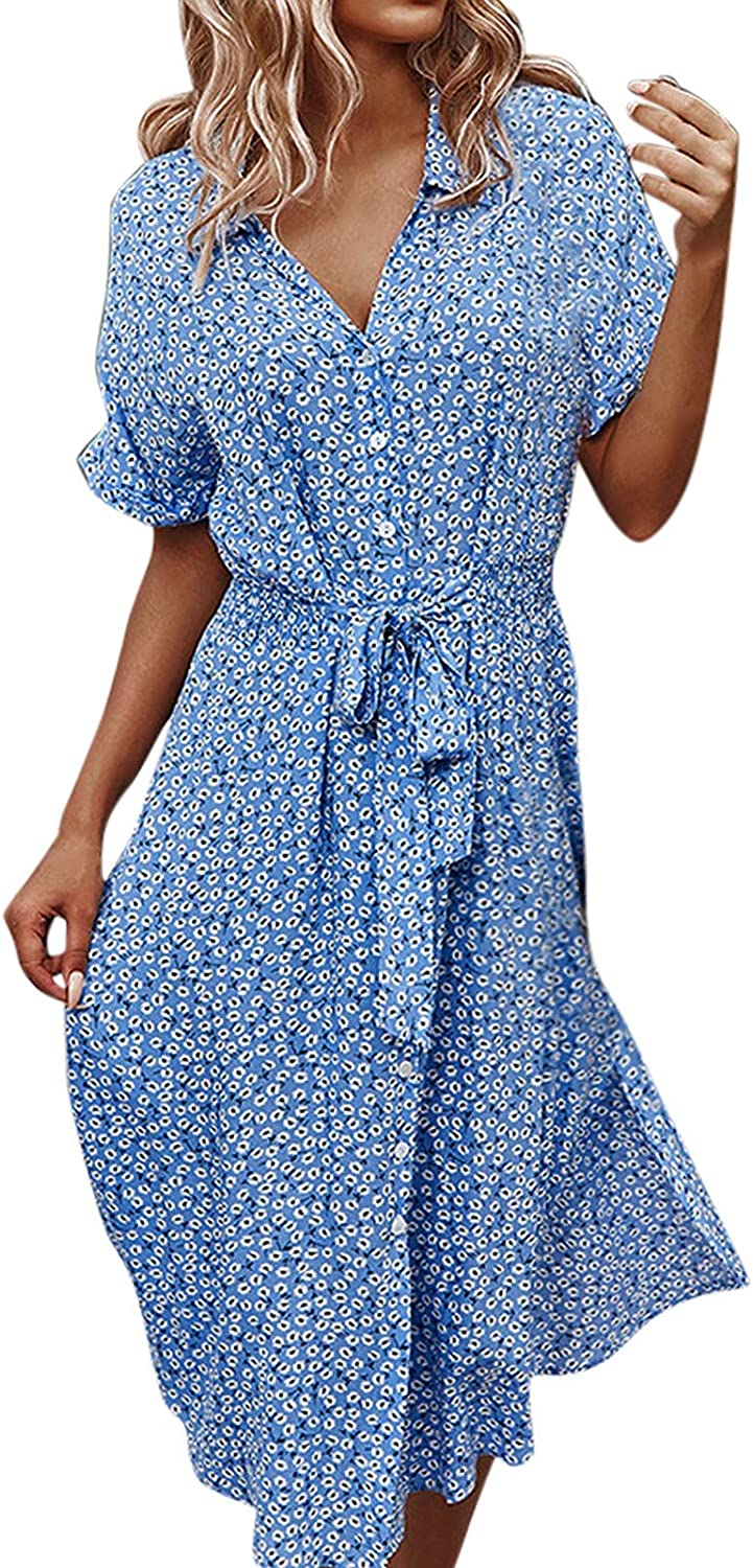 Women's V Neck Floral Short Sleeves Dress Summer Casual Flowy Button Down Tie Waist Belted Dresses with Pockets