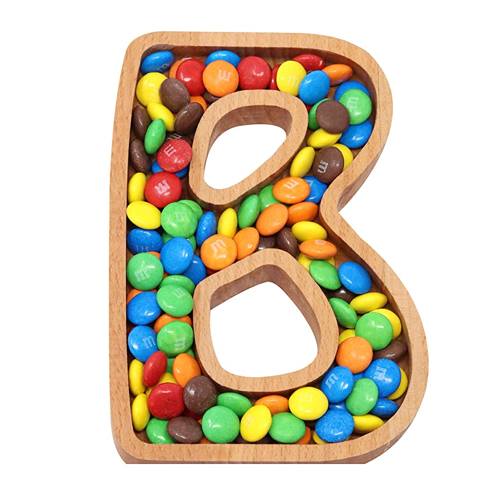 Wooden Letter B Candy Dish | Monogram Nut Bowl | Snack, Cookie, Cracker Serving Plate | Decorative Display, Home Accessory | Unique Gift Idea | for Date, Baby Shower, Birthday Party | Small Size