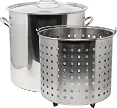 CONCORD 53 QT Stainless Steel Stock Pot w/Basket. Heavy Kettle. Cookware for Boiling