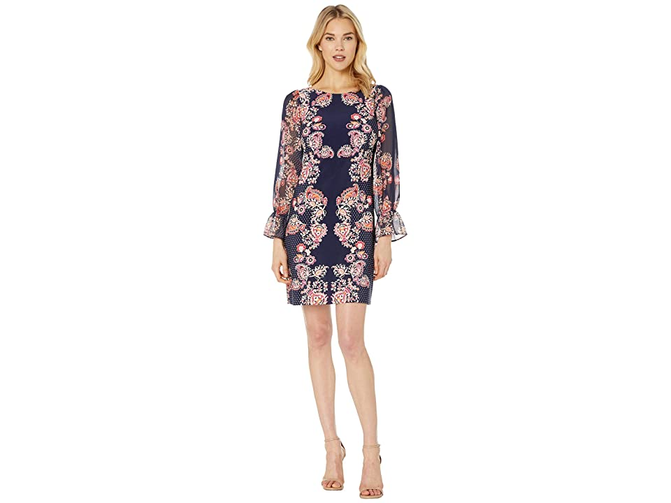 Vince Camuto ITY T-Body Dress with Chiffon Sleeves (Navy/Multi) Women