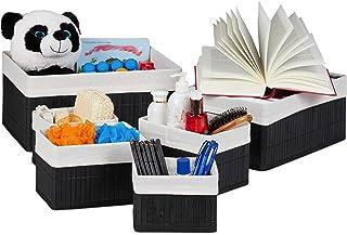 Relaxdays 10024309_46 Corbeille de rangement en tissu, Set de 6 paniers en bambou, déco étagère organiseur, noir, coton, f...