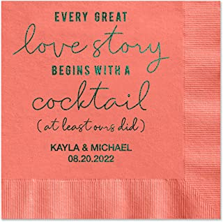 Canopy Street Love Story Personalized Beverage Napkins - 100 Coral Paper Coined Napkins with a Choice of foil. 4 3/4