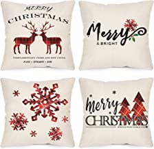 LAVEVE Christmas Decorative Pillow Covers 18x18 Inch Set of 4, Farmhouse Winter Red Buffalo Plaid Christmas Throw Pillow Covers, Linen Merry & Bright Deer Tree Snowflake Cushion Case for Sofa Couch