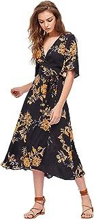 Women's Boho Deep V Neck Floral Chiffon Wrap Split Long Dress