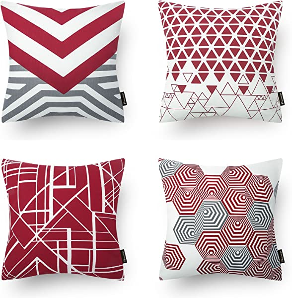 Phantoscope Set Of 4 Red Geometric 100 Cotton Throw Pillow Case Cushion Cover 18 X 18 Inches 45 X 45 Cm