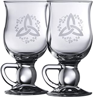 Galway Crystal Trinity Knot Shamrock Latte (1 Pair), Clear
