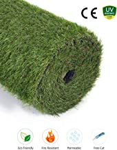 GOLDEN MOON Realistic Artificial Grass Mat 6-Tone Thick Outdoor Turf Rug 1.2in(30mm) Blade Height Series Green (3'x13'=39 sq ft)