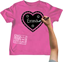 Chalk of the Town Raspberry Heart Short Sleeve T-Shirt w/ 1 White Marker Kit (Youth Small)
