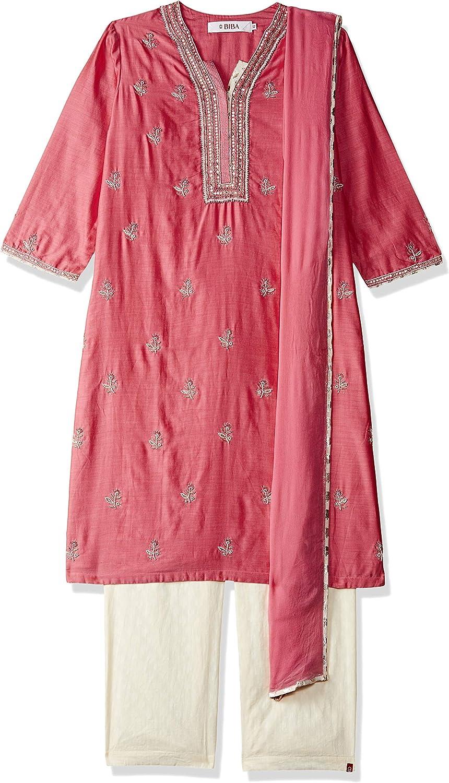 BIBA Women's Straight Cotton Silk Straight Raised Suit Set